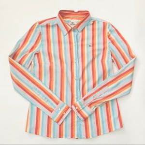 Lacoste Pastel Striped Button Down Shirt Sz 40 / 8